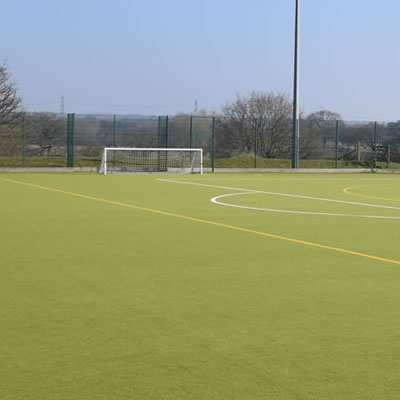 One third of the synthetic grass pitch