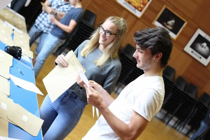 Students collecting their results